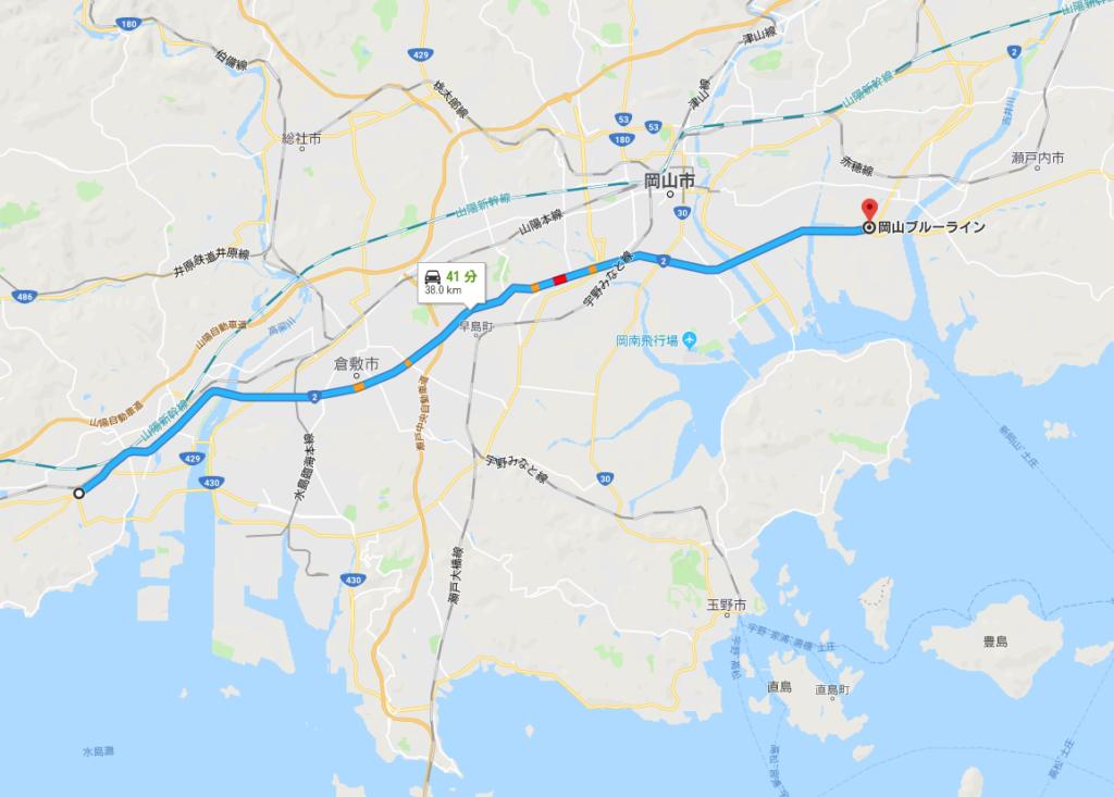 倉敷バイパスから岡山バイパス終了まで