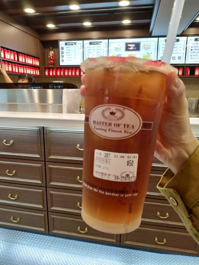 逢甲夜市近くの紅茶専門店で注文した紅茶
