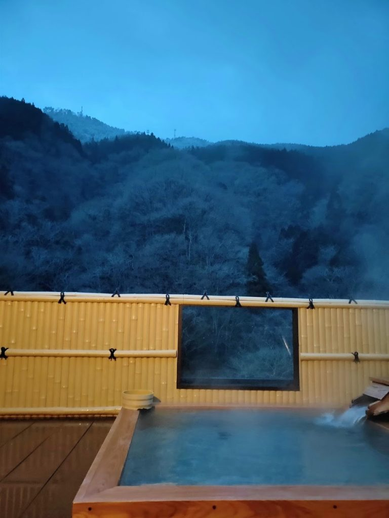 湯快感花やしきの屋上露天風呂と山々