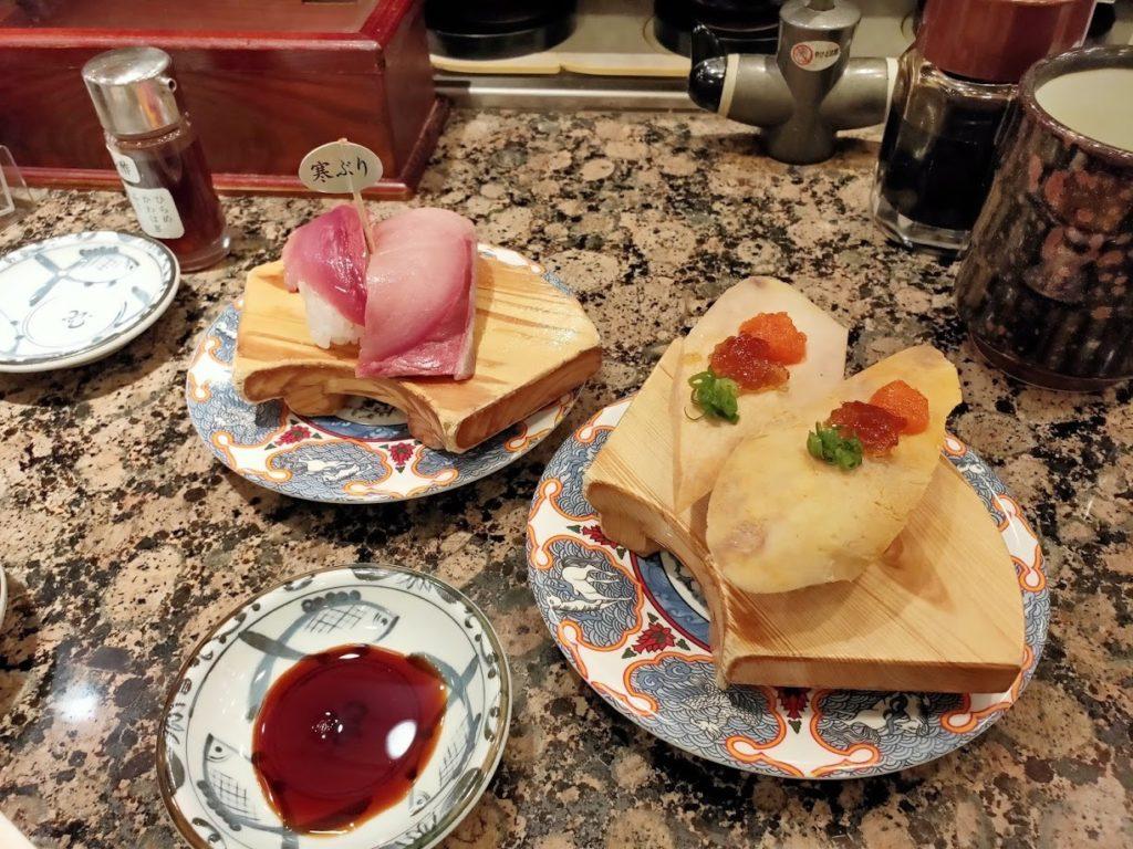 回転寿司北海道寒ブリとあん肝