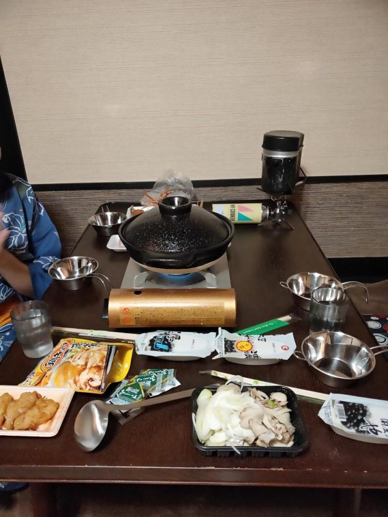 湯村温泉寿荘での夕食自炊