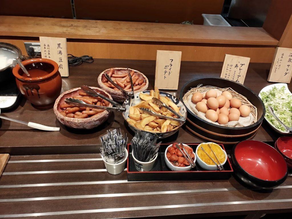 湯村温泉寿荘の朝食プレミアム卵