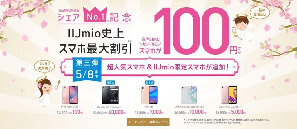 IIJmioの100円キャンペーン