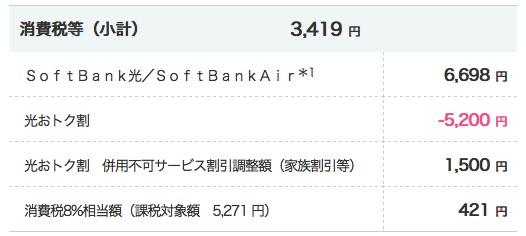 ソフトバンク光料金
