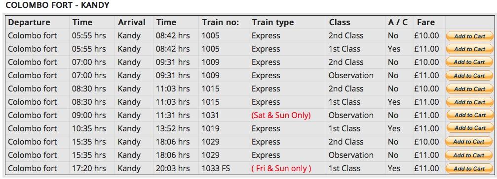フォート駅からキャンディー駅までの時刻表