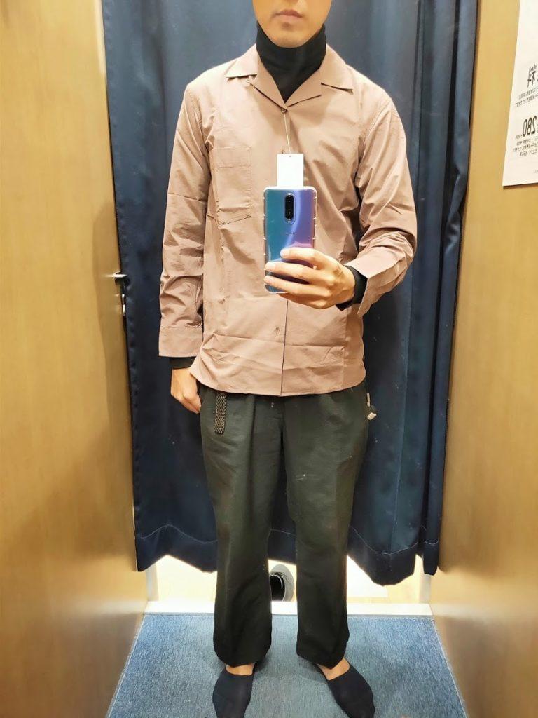 ユニクロUオープンカラーシャツ紫Sフロント
