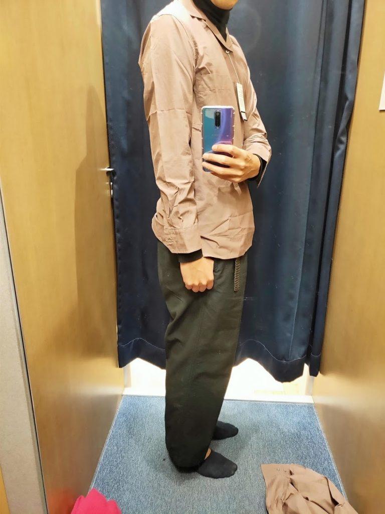 ユニクロUオープンカラーシャツ紫Sサイド