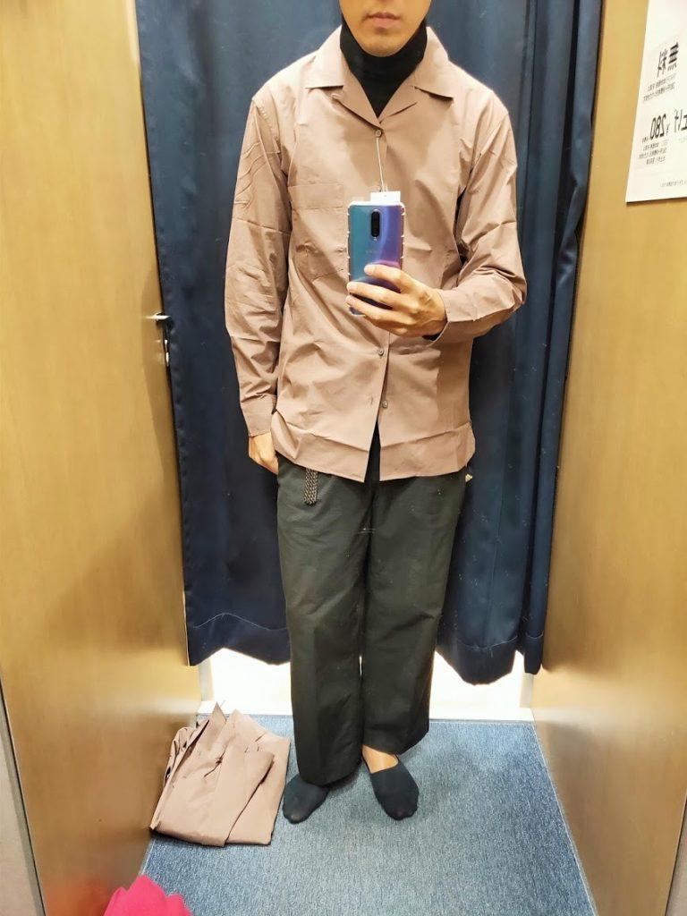 ユニクロUオープンカラーシャツ紫Mフロント