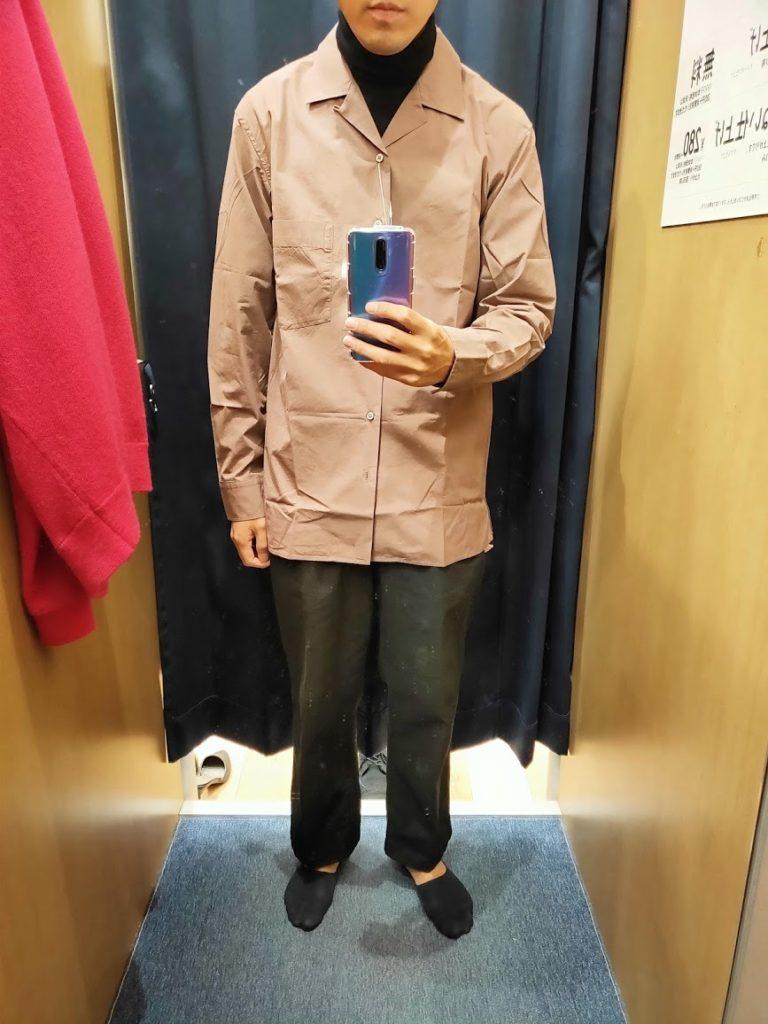 ユニクロUオープンカラーシャツ紫Lフロント