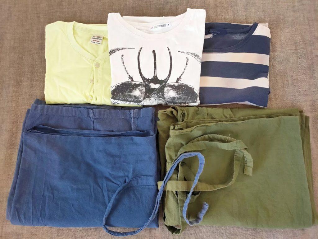 スリランカ旅行用の捨てる予定の服