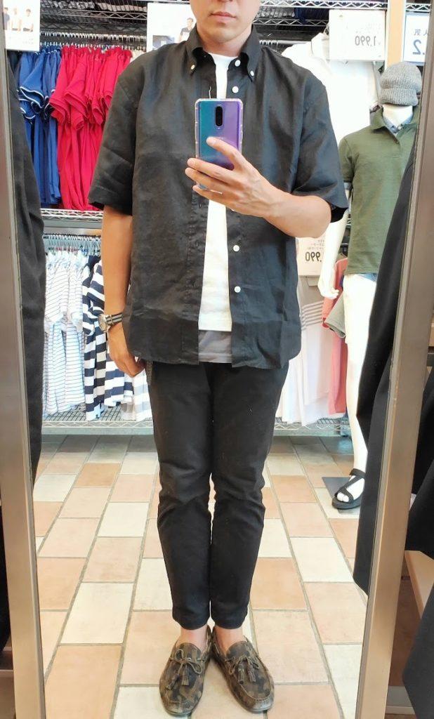 ユニクロUリネンワイドシャツサイズM前ブラック