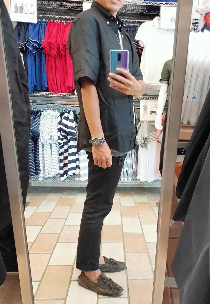 ユニクロUリネンワイドシャツサイズM右サイドブラック