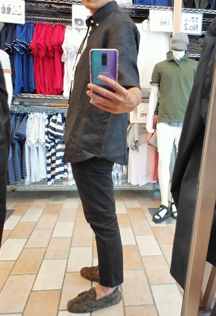 ユニクロUリネンワイドシャツサイズM左サイドブラック
