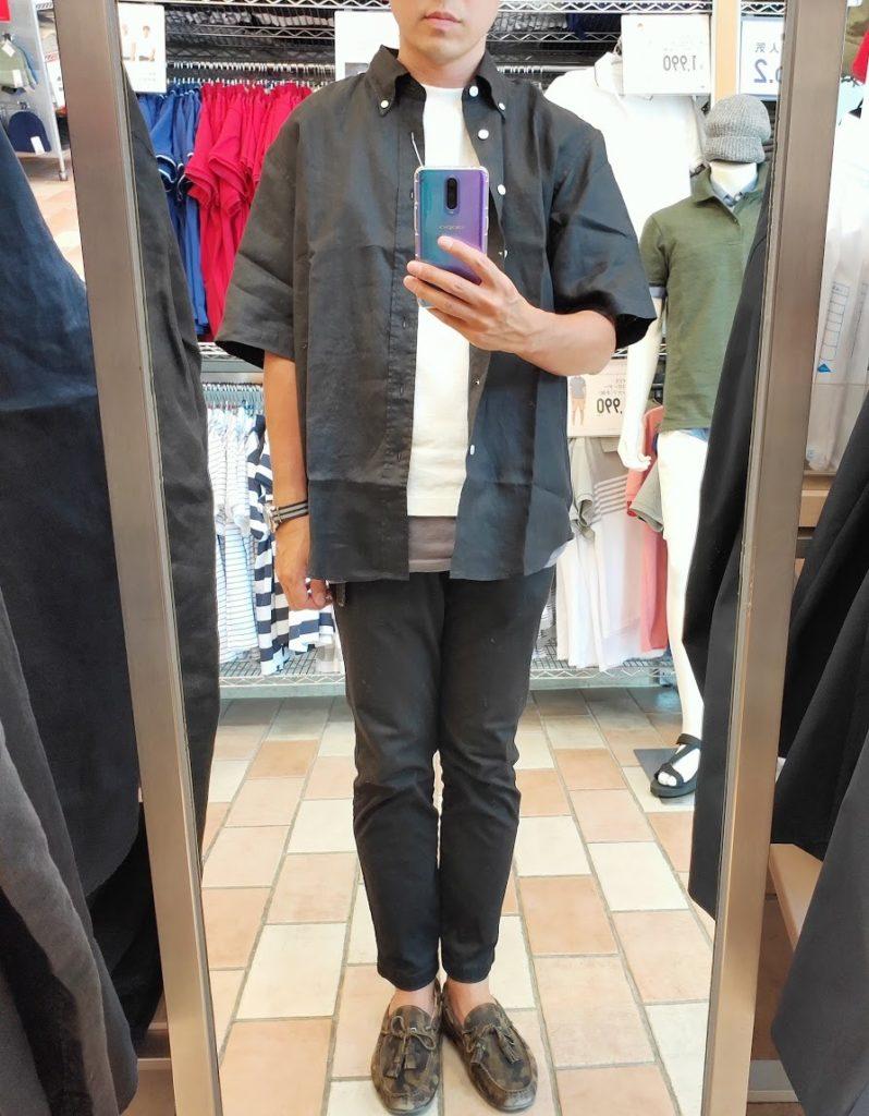 ユニクロUリネンワイドシャツサイズL前ブラック