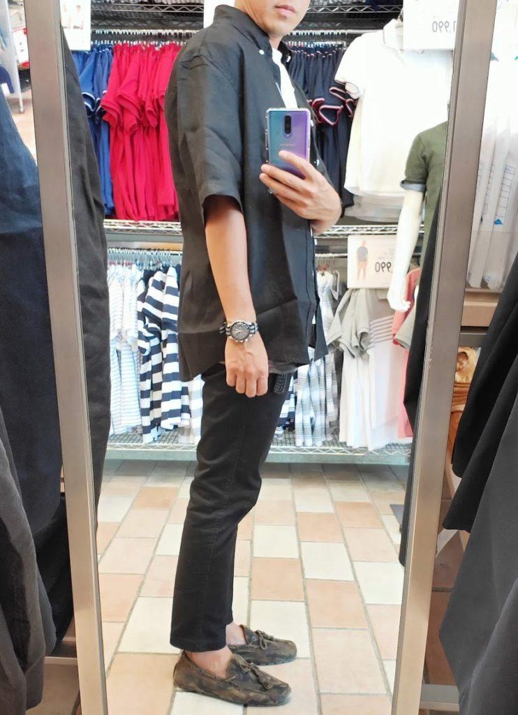 ユニクロUリネンワイドシャツサイズL右サイドブラック