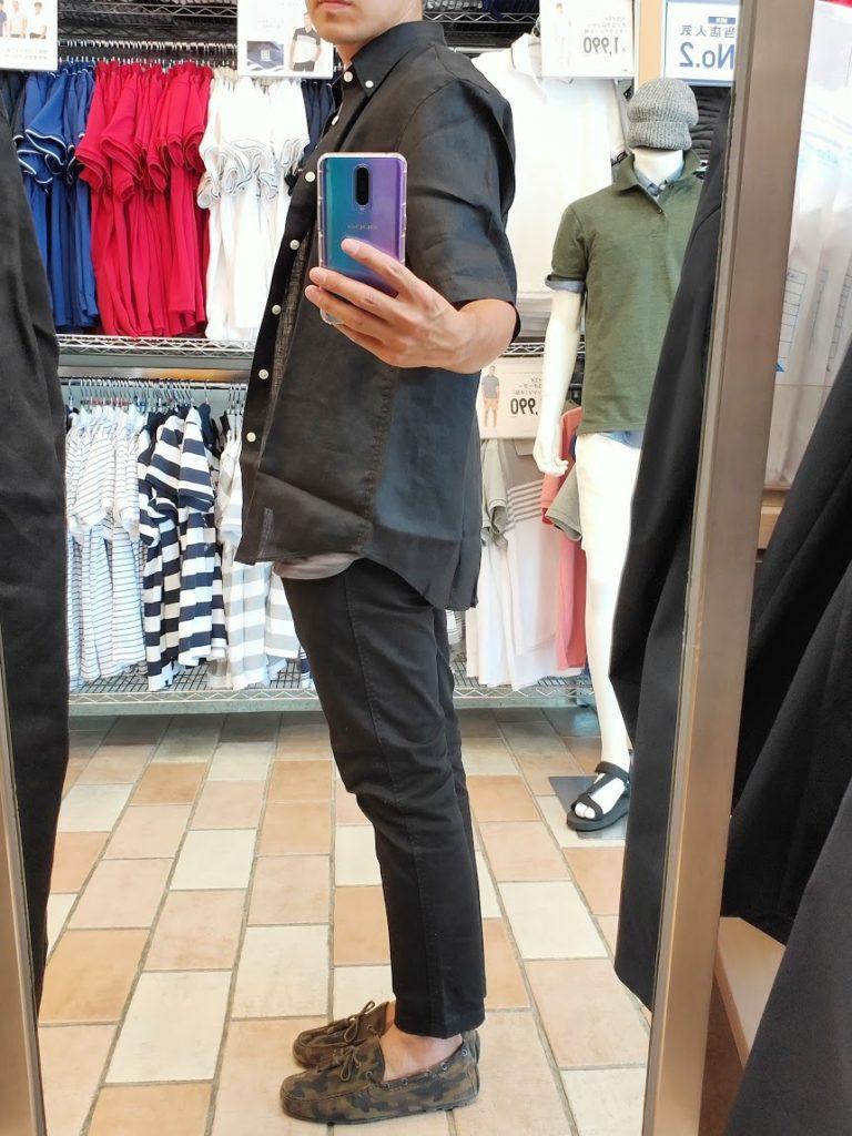 ユニクロUリネンワイドシャツサイズL左サイドブラック