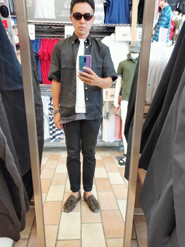 ユニクロUリネンワイドシャツサイズS前ブラック