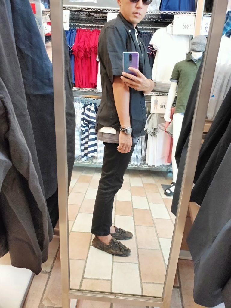 ユニクロUリネンワイドシャツサイズS右サイドブラック