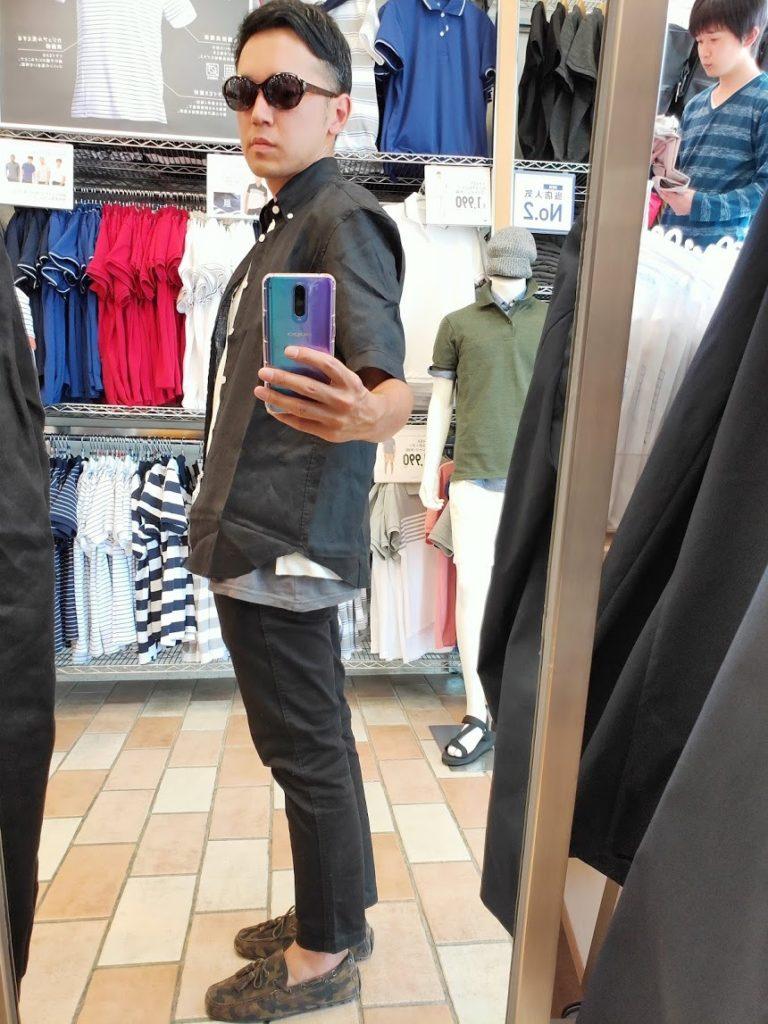 ユニクロUリネンワイドシャツサイズS左サイドブラック