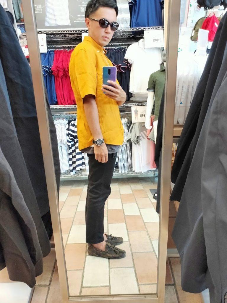 ユニクロUリネンワイドシャツサイズM右サイドイエロー