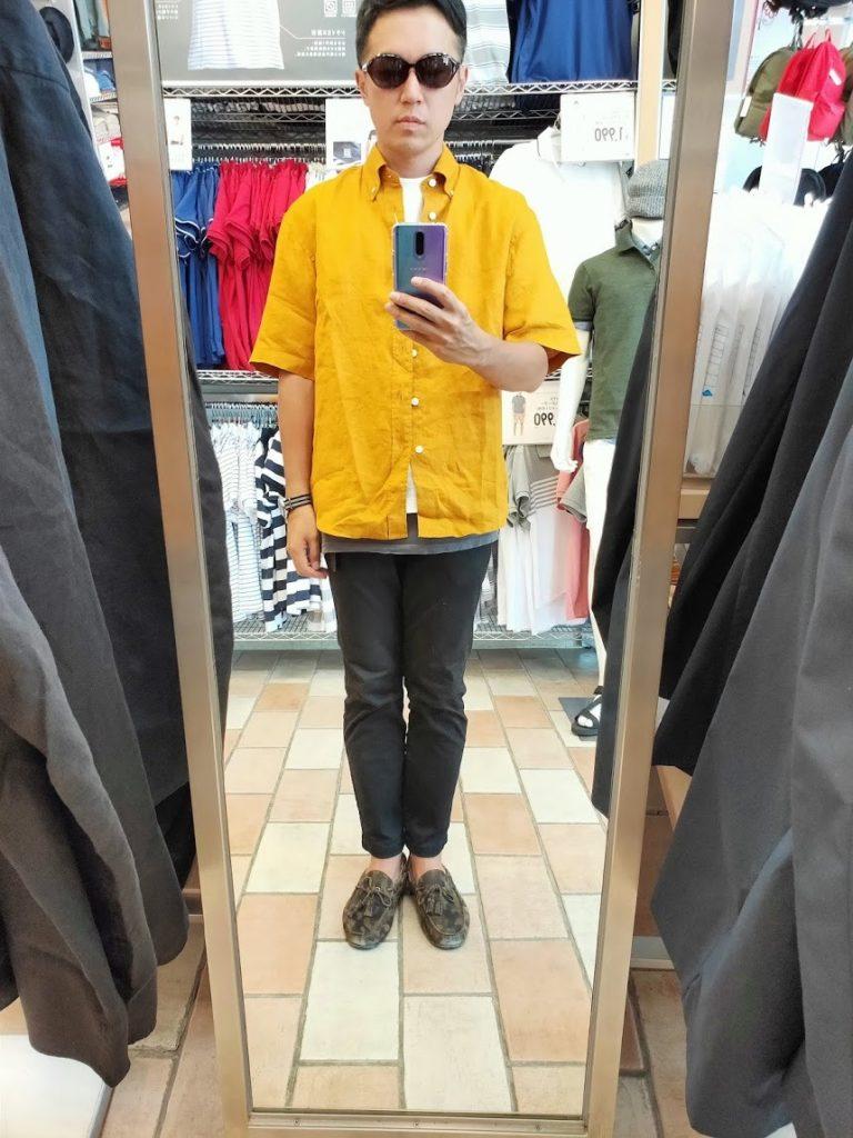 ユニクロUリネンワイドシャツサイズM前イエロー