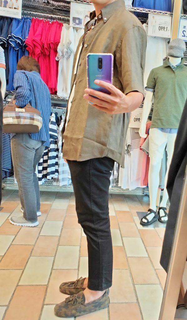 ユニクロUリネンワイドシャツサイズM左サイドダークグリーン