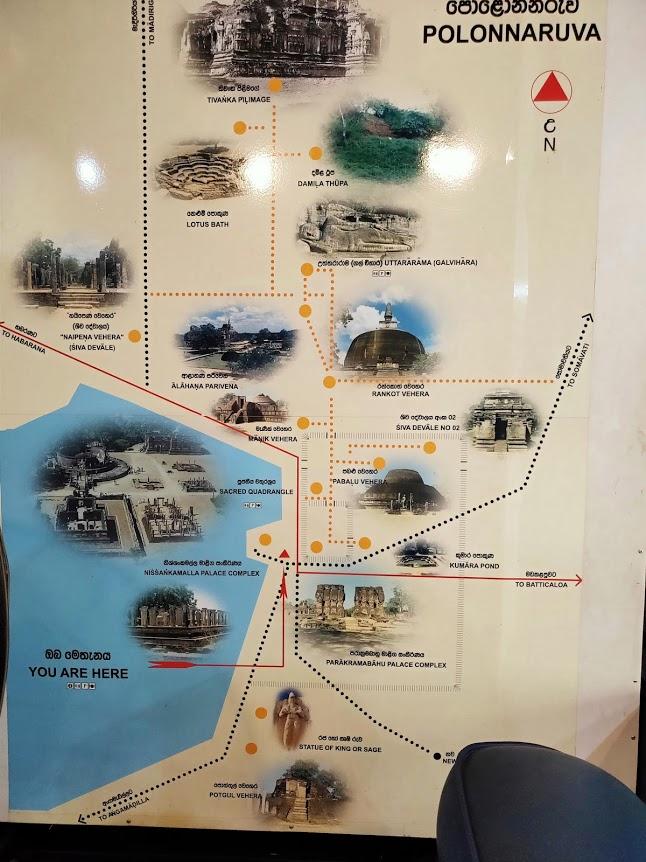 ポロンナルワ遺跡の地図