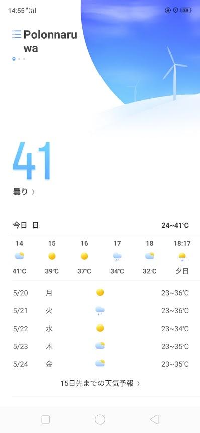ポロンナルワでの気温