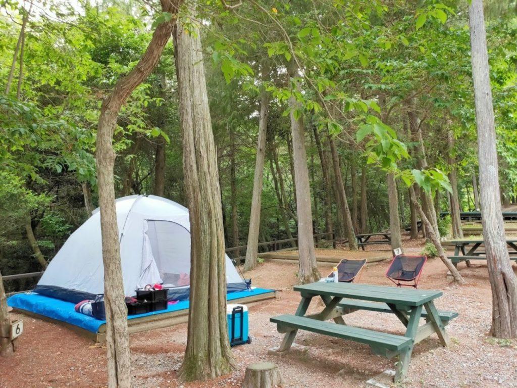 憩いの森公園林間キャンプ場での設営