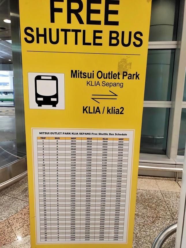 KLIAからKLIA2のバスの案内