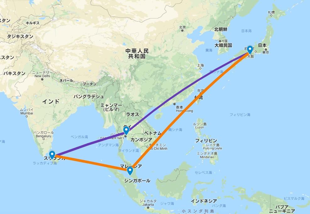 日本からスリランカへの飛行機の行程