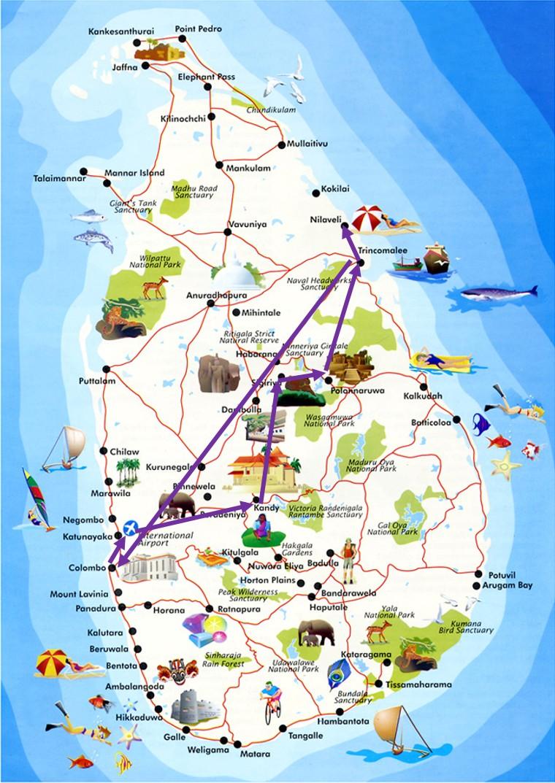 スリランカの地図巡り方