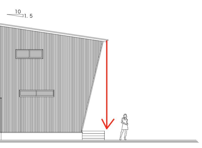 家の屋根とウッドデッキの位置