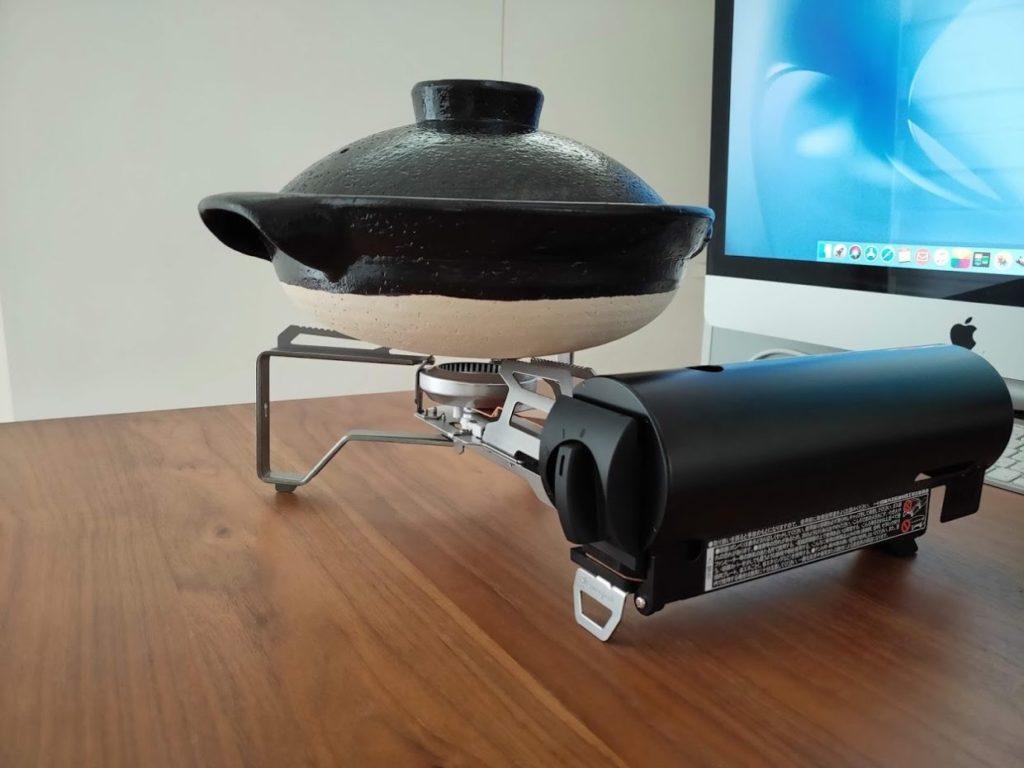 スノーピークガスバーナーと土鍋の使用2