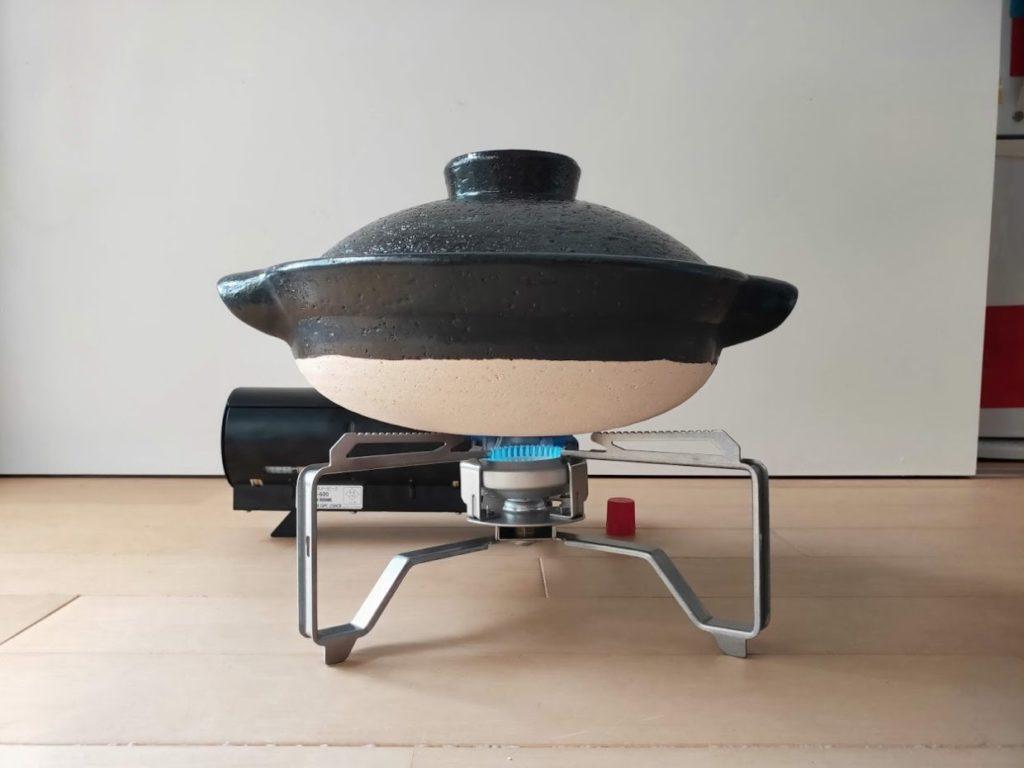 スノーピークバーナーと無印の土鍋2