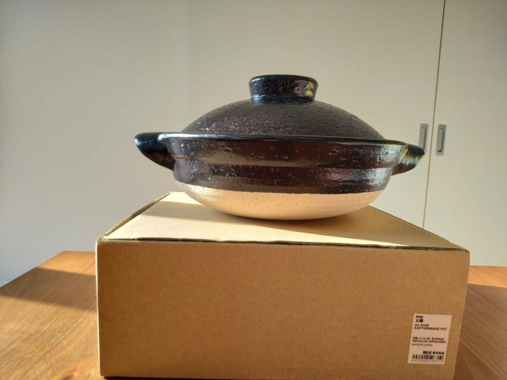 無印良品土鍋新品の本体と箱