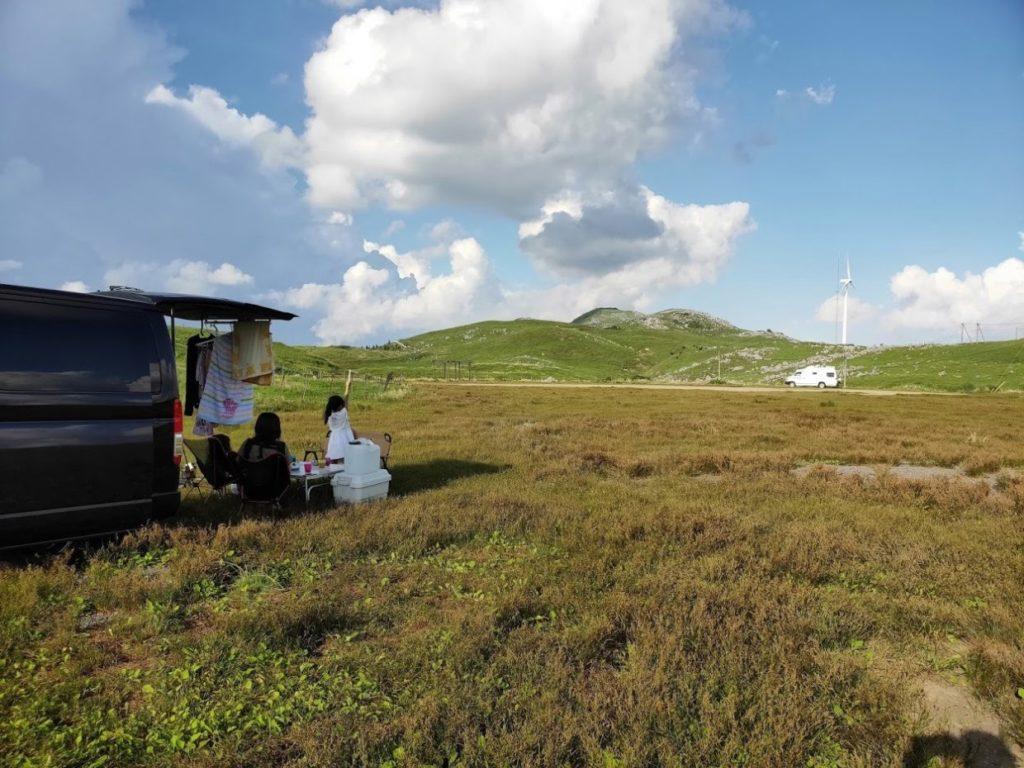 姫鶴平キャンプ場のテントスペース