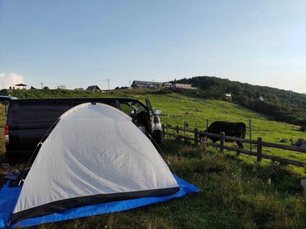 姫鶴平キャンプ場のテントと車