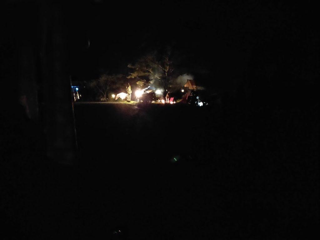 夢の森公園キャンプ場での夜の景色