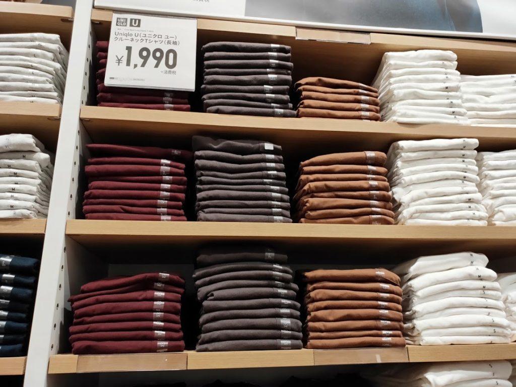 ユニクロUクルーネックロングTシャツ店舗の価格