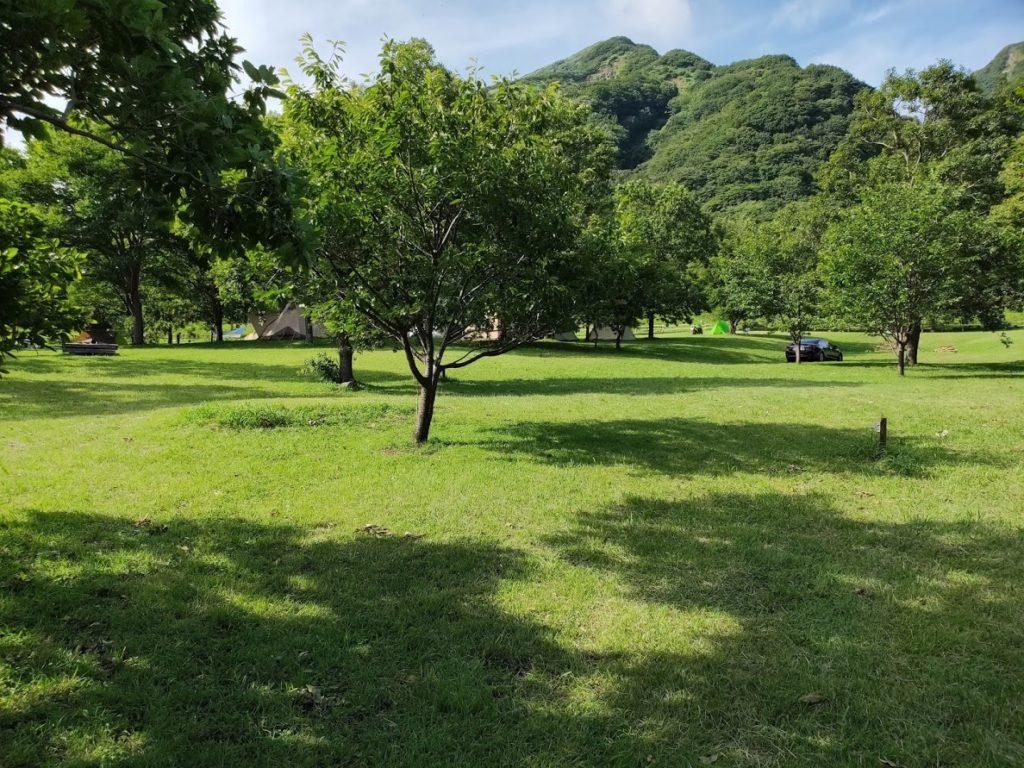 鍋の平キャンプ場のサイト景色
