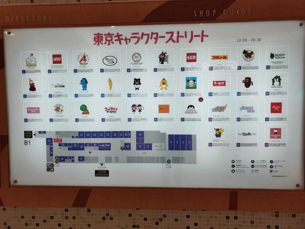 東京キャラクターストリート情報看板