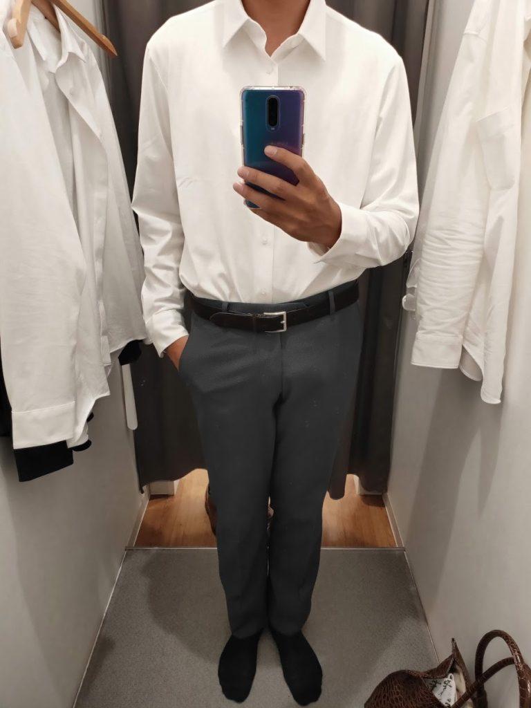 ユニクロイージーケアジャージシャツの白サイズL前