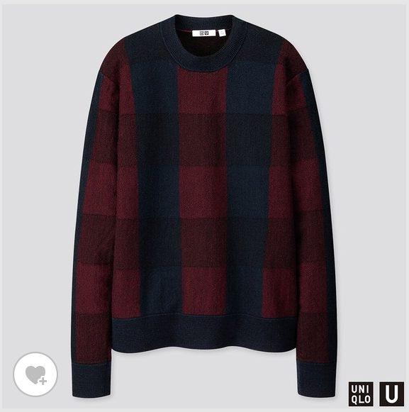 ユニクロUチェッククルーネックセーターのHP画像