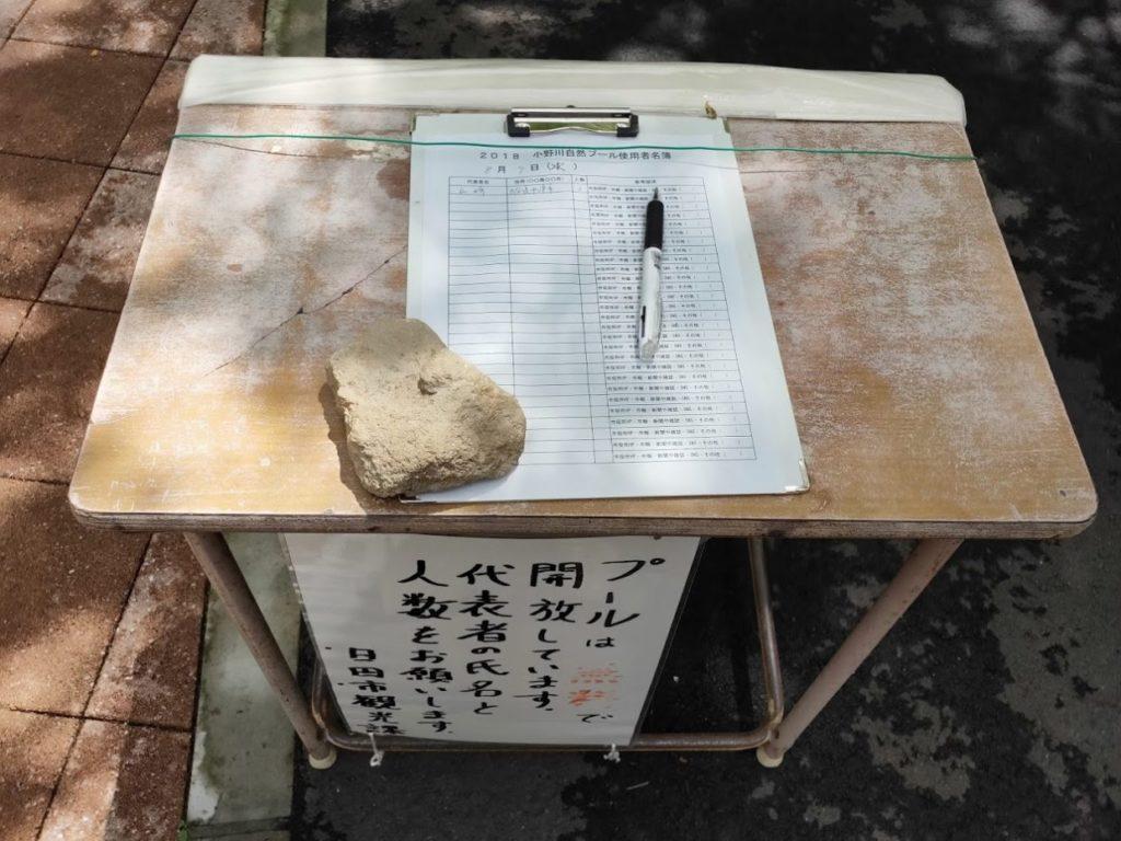 日田市小野川自然プールの名前の記載