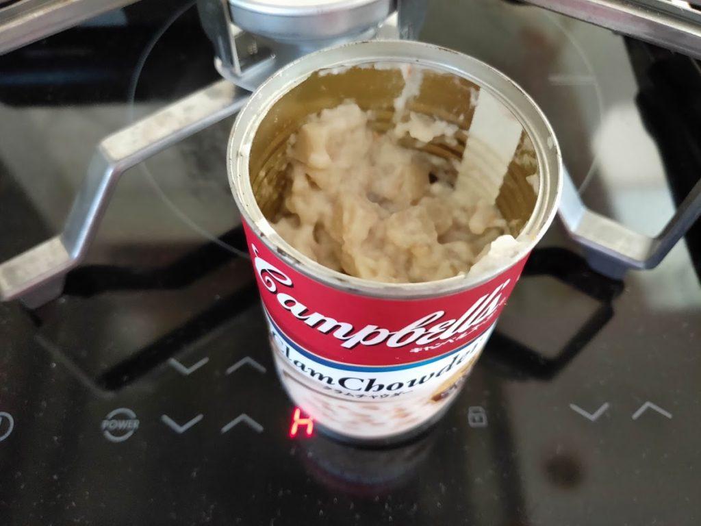 キャンベルクラムチャウダー缶を開けた
