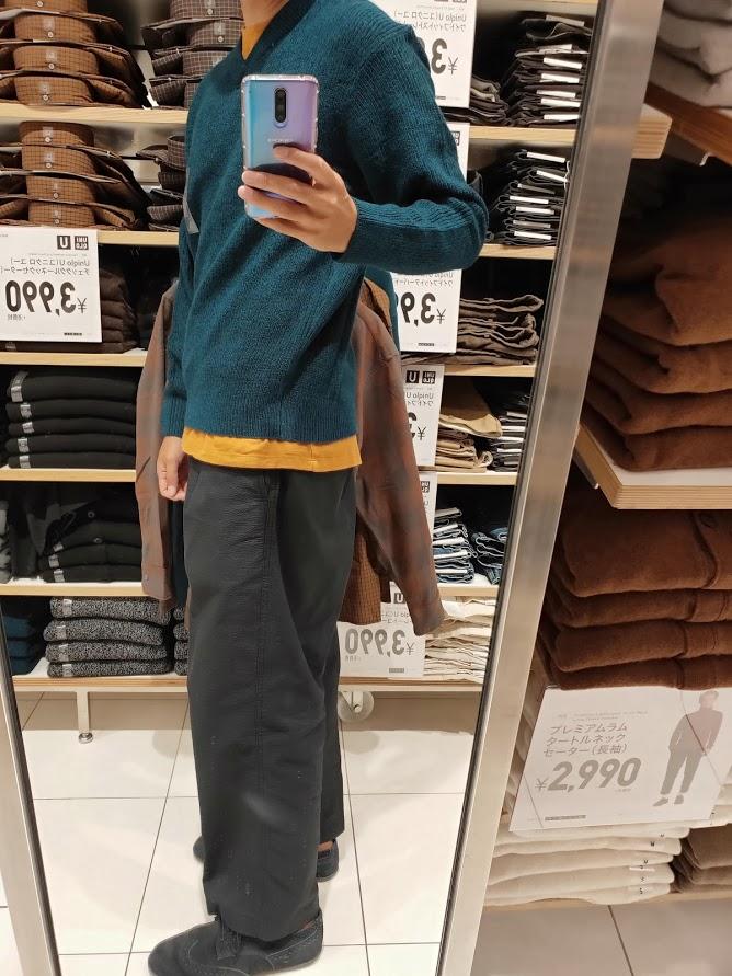 ユニクロUメランジVネックセーター緑L左