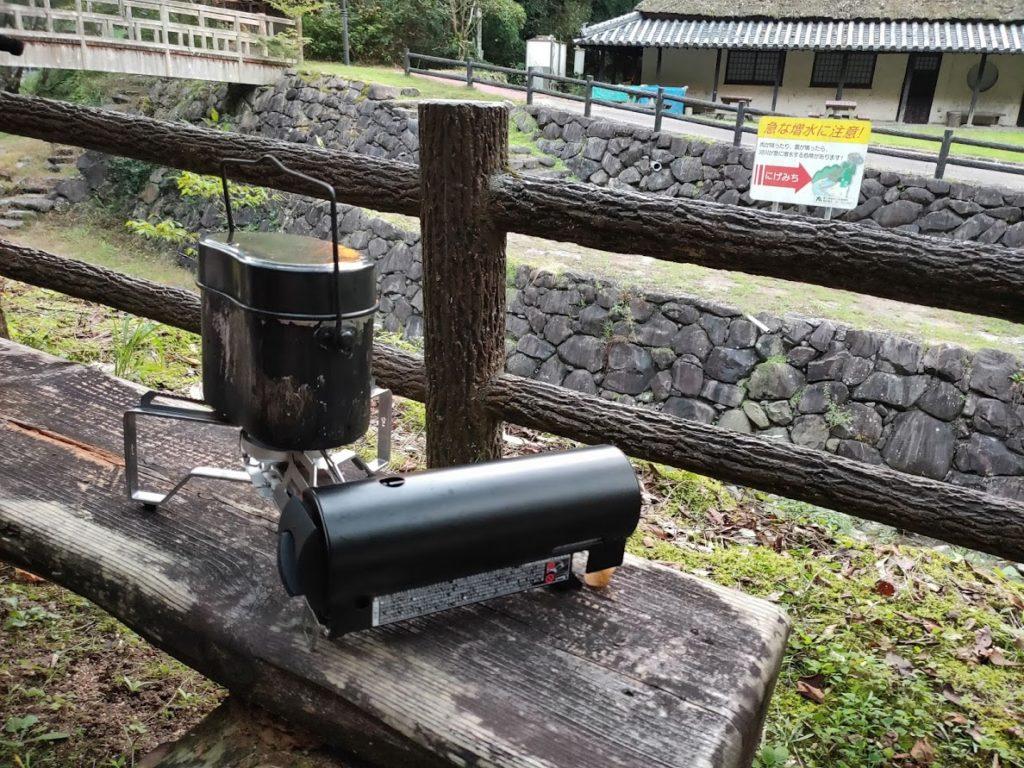 奥の湯公園キャンプ場で炊飯