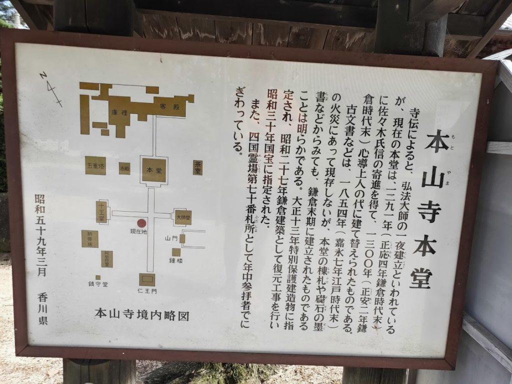 70番本山寺の情報看板