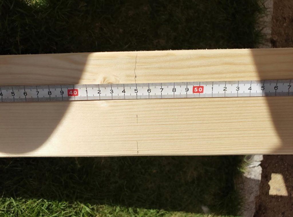 ソーホースブラケットの木材印